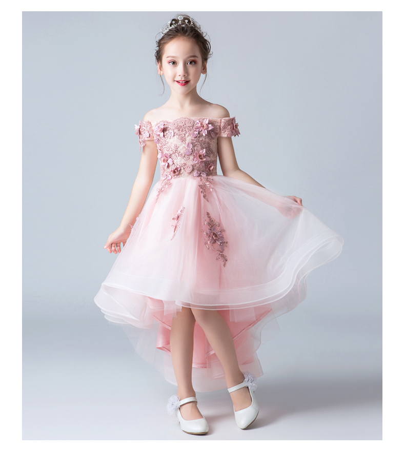 Glizt Girl Wedding Dress Beaded Appliques Party Pink Tulle