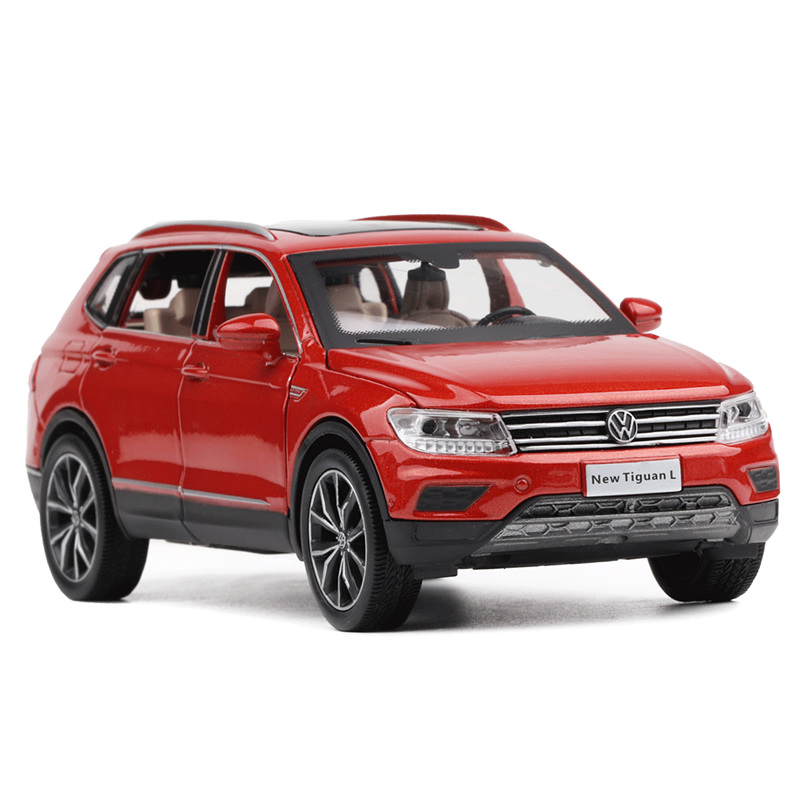 High Quality 1:32 New Tiguan L Alloy Model,simulation Of Die-casting Sound And Light Pull Back Model Ornaments,free Shipping