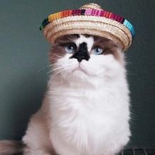 Новое поступление разноцветная соломенная шляпа для домашних животных собачья кошка Мексиканская соломенная шляпа-сомбреро для домашних животных Регулируемая пряжка костюм# S