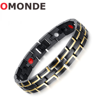 OMONDE High Quality Bio Elements Energy Magnetic Bracelet Men Jewelry Health Care Stainless Steel Chain Adjustable