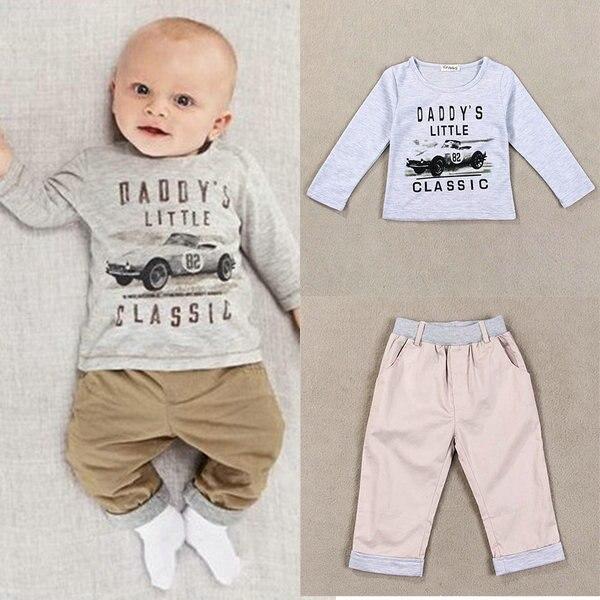 2017 детская хлопковая рубашка с длинными рукавами для мальчиков комплект одежды из двух предметов для малышей комплект футболка + штаны для ...