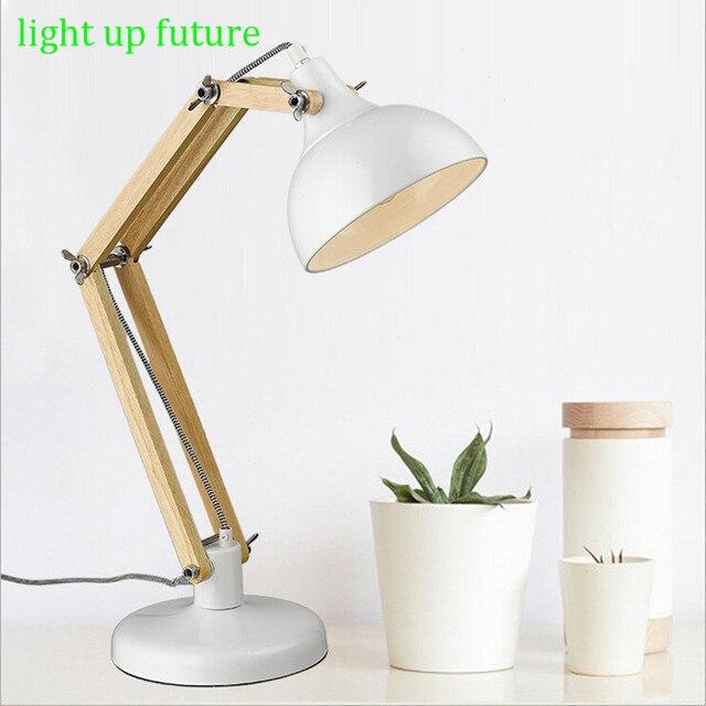 Wood Metal Led E27 Table Lights for Living Room Bedroom Modern White Spring Flexible Desk Lamps 2112