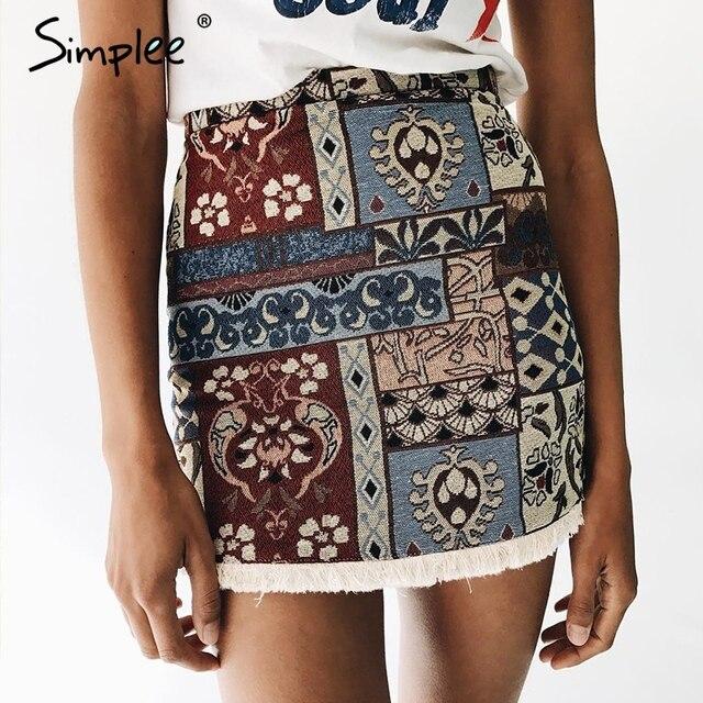 Simplee Высокой талией юбки женские нижние Короткие стиль бохо шик юбка-карандаш с девушкой Vintage сексуальные мини-юбки 2017 летний пляж