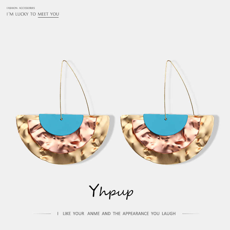 Yhpup Personality Simple Design Geometric ZA Dangle Earrings Iron Sheets Semicircle Boho Statement Jewelry for Women Beach Party