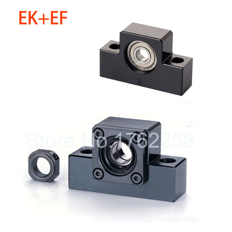 EK12 EF12 Ball Screw End Support Set : 1 pc Fixed Side EK12 and 1 pc Floated Side EF12 for SFU1605 Ball Screw CNC parts 10pairs lot ek10 ef10 ball screw shaft guide end supports fixed side ek10 and floated side ef10