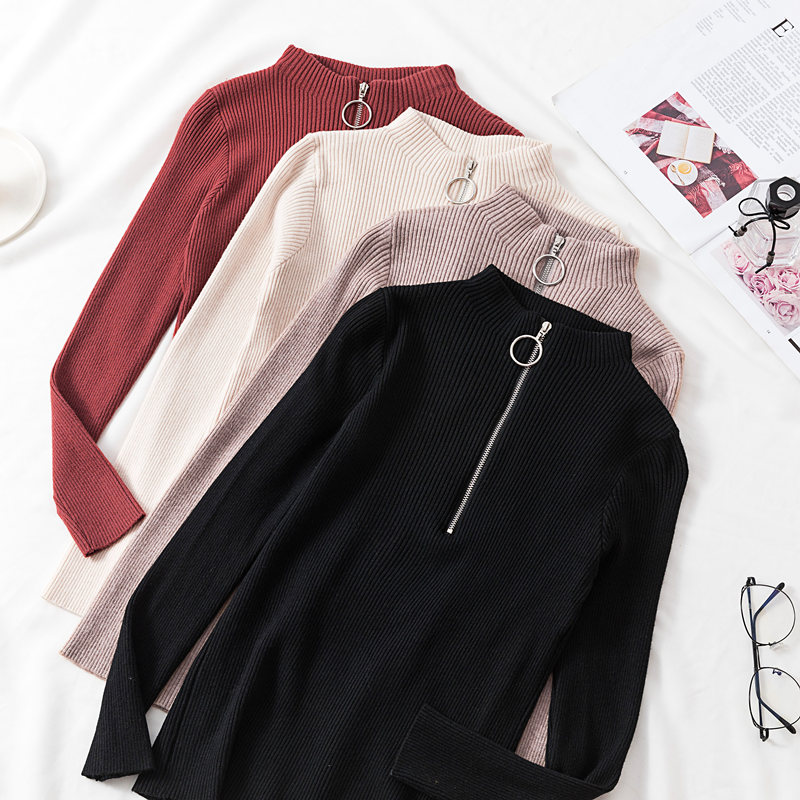 Gkfnmt Knitted Sweater Soft-Jumper Pullovers Half-Turtleneck Long-Sleeve Female Autumn