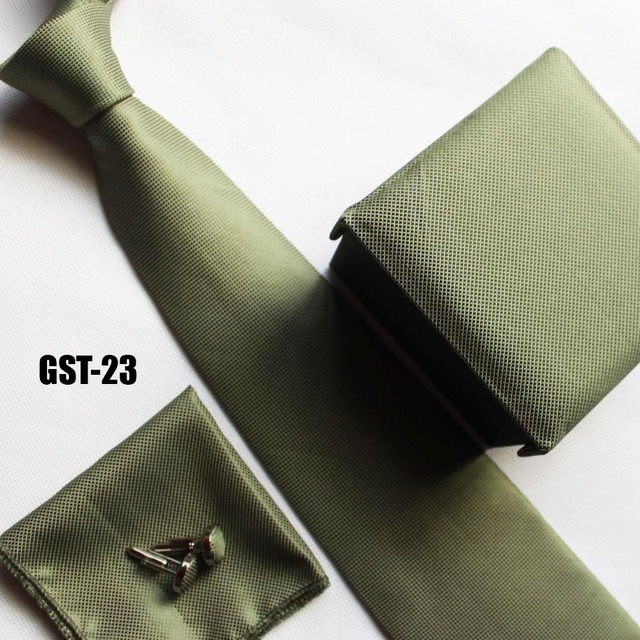 Laços do homem da moda set verde damas grades para cavalheiros bolso lenço + abotoadura + caixa de presente + cravates
