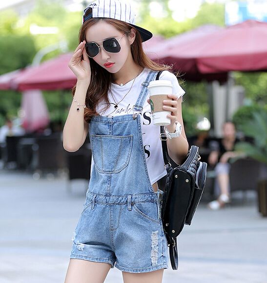 new spring and summer 2015 fashion jeans shorts strap suspenders piece shorts wild female lady overalls fashion jumpsuits women
