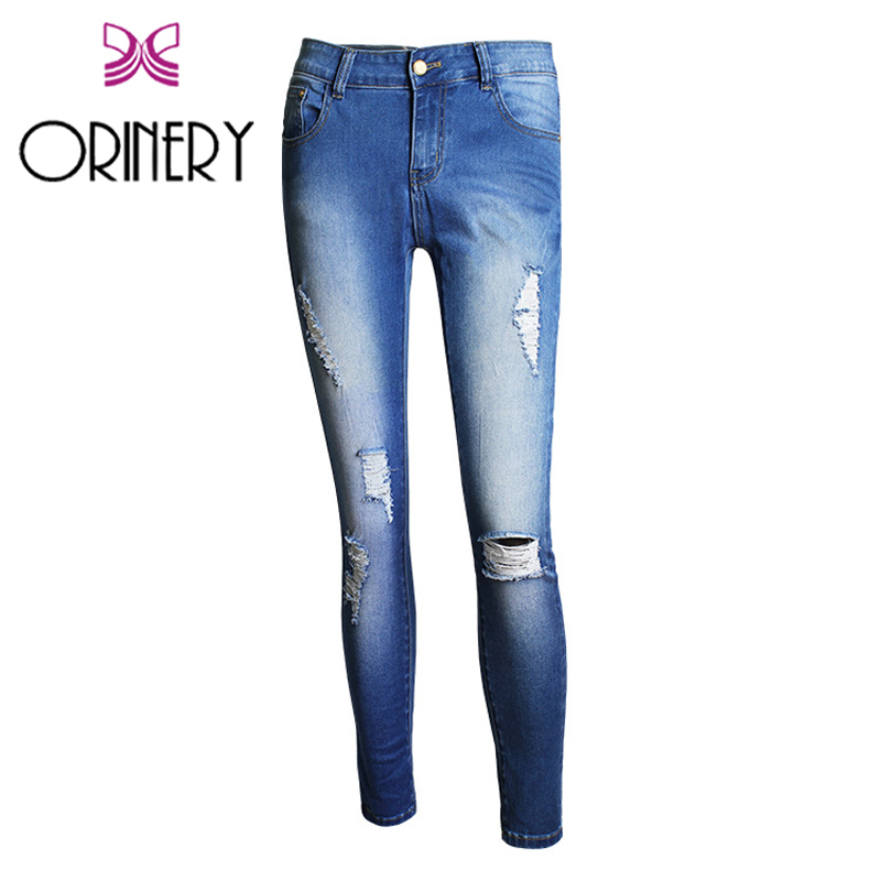 ФОТО ORINERY 2017 Vintage Ripped Jeans for Women Fashion Brand Blue Distressed Denim Pants High Quality Solid Skinny Jeans Woman