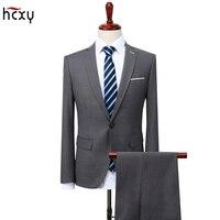 2018 Для мужчин s Бизнес Повседневная рабочая одежда Для мужчин костюмы Свадебные Жених 2 шт. (куртка + брюки) slim Fit костюмы мужской большой sizeS 5XL