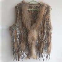 Stock tricoté réel gilet de fourrure de lapin femmes mode réel Gilets de fourrure avec gland pour dames sans manches automne Gilets de fourrure femme