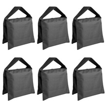 Neewer 6 Pack Black Sand Bag Photography Studio Video Stage Film Saddlebag for Light Stands Boom Arms Tripods