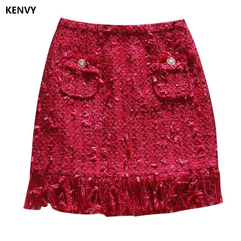 Femmes Élégant Mince Mode Haut Gamme Marque Tweed Gland De Kenvy Sauvage Automne Jupe Luxe wIzt8I
