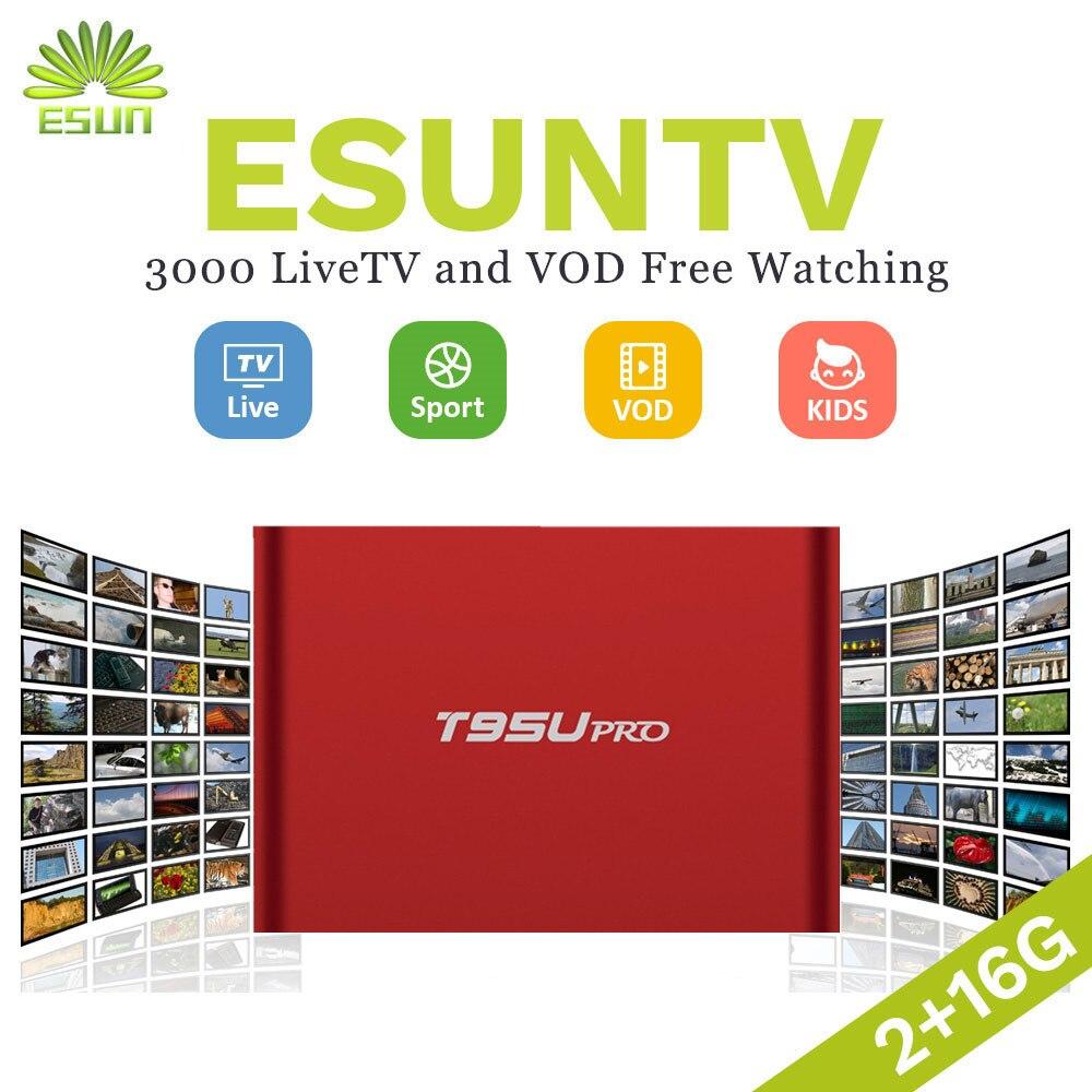 ESUN-TV T95U PRO Android IPTV Boîte 6.0 Smart TV Box Arabe Espagne ROYAUME-UNI Français Allemagne Italie Pays-Bas Portugal Suède EX-YU xxx NOUS
