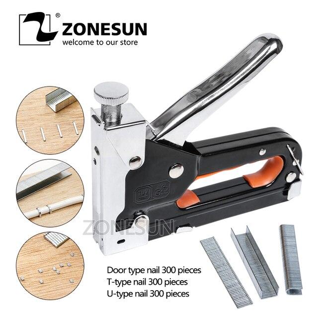 ZONESUN Manual Multi tool Nail Staple Gun Furniture Stapler For Wood ...