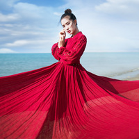 MM050 Original Design New 2016 Large Bottom V Neck Long Sleeve Maxi Small Bell Belted Red