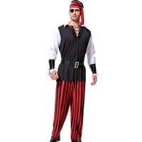 6 Pezzi uomo di Età Cuttroat Pirata Costume di Halloween Costume per gli uomini