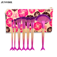 7pc Mermaid Make Up Brushes Set Color Eyebrow Blush Foundation Cosmetic Concealer Fish Handle Fan Brush
