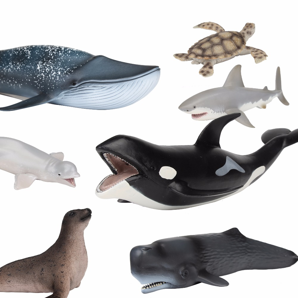 LANWIN Ocean Toy Animal Model sea animals bule whale shark Walrus Animal shark killer whale kids learning toy for children gift mr froger carcharodon megalodon model giant tooth shark sphyrna aquatic creatures wild animals zoo modeling plastic sea lift toy