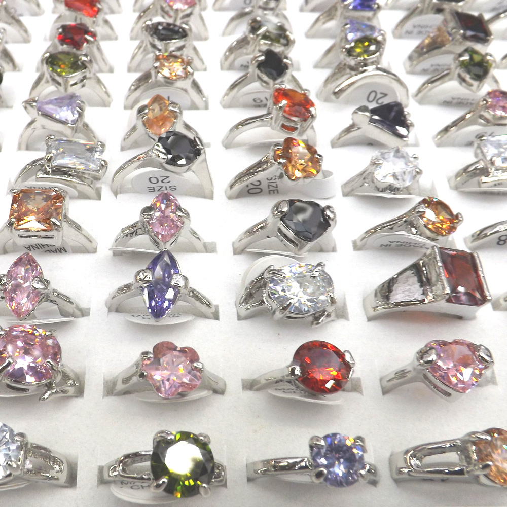 Unique Designed Multicolor Zircon Rings Crystal Rings 50pcs Mix Model For Women