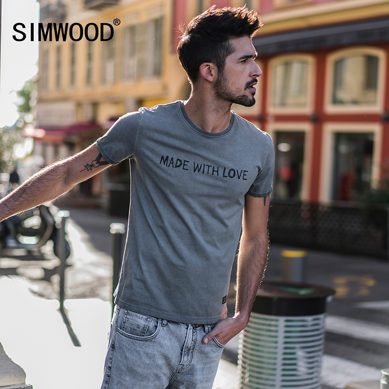 SIMWOOD 2019 Summer   T     Shirt   Men Brand Tees Fashion Slim Fit Casual Tops O-neck Letter Print 100% Cotton   T  -  shirts   TD017117