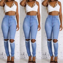 Women Sexy Denim Skinny High Waist Ripped Jeans Pants High Waist Stretch Jeans Slim Button Pocket Zipper Pencil Trousers