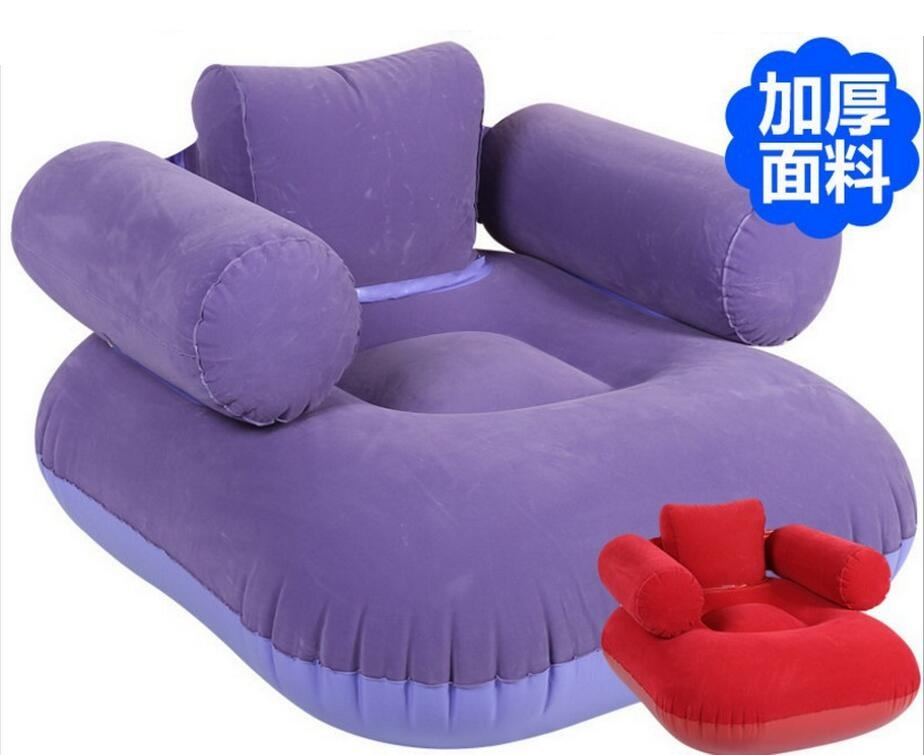 red and purple Fashion flocking pvc inflatable lazy sofa household single sofa chair,living room air bean bag chair casual backrest sofa bedroom living room nap inflatable lazy single folding sofa black l shape with arch design bean bag chair