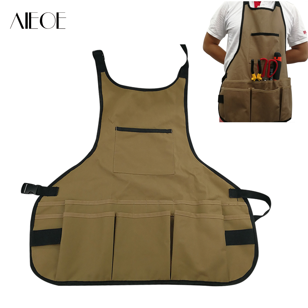 polyester tool apron multiple pockets woodworking garden work clothes  garden tools container save-all for carpenter craft