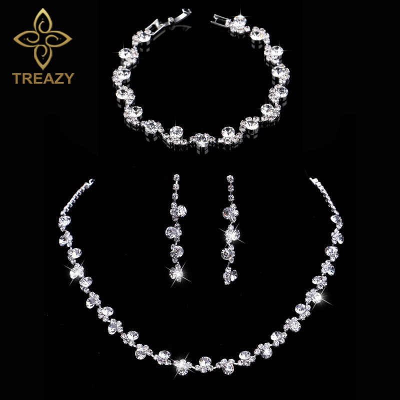 TREAZY Crystal Bridal Jewelry Sets Silver Color Charm Floral Wedding Necklace Earrings Bracelet Set Women Wedding Accessories