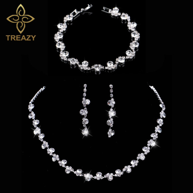 Treazy Crystal Bridal Jewelry Sets Silver Color Charm Fl Wedding Necklace Earrings Bracelet Set Women