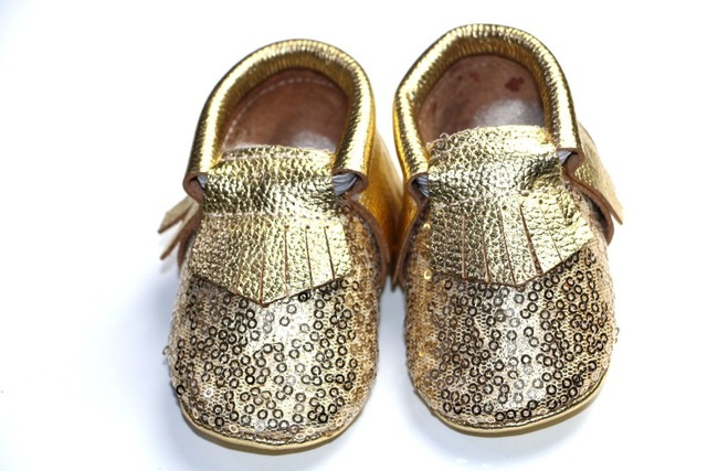 Metallic Shining Gold Silver sequins Genuine Leather baby moccasins Shoes Newborn Infant Soft Soled Baby Prewalker Shoe