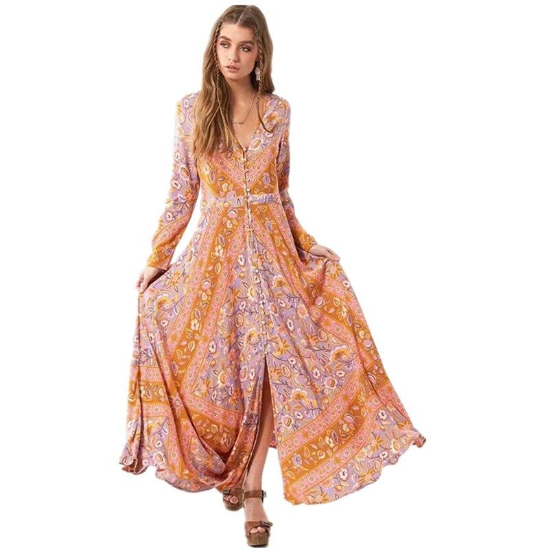 Maxi Boho Dress 2017 Autunno Etnica Stampa Floreale Con Scollo A V Manica Lunga Vestiti Delle Donne della Boemia Vacanza al mare Femme Abiti Chic Abbigliamento