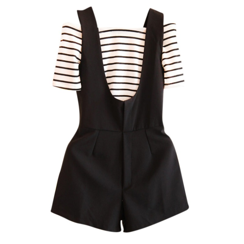 Women Two Pieces Clothing Set Fashin Striped Slash Neck +Rompers Short Fashion Girls Set