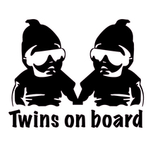 CS-1386#15*12cm Twins on Board funny car sticker vinyl decal silver/black for auto stickers styling