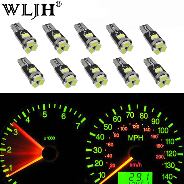 WLJH 10x T5 led Car Light 7 Colors Lamp Led 74 37 73 286 Wedge Auto Gauge Dash Dashboard Instrument Panel Light Bulb For Ford