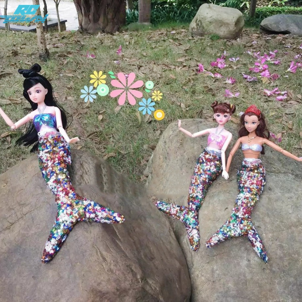 RCtown Handmade Dolls Party Dress Gown Sequins Mermaid Clothing for Doll Mermaid Tail Dress Baby Toys for zk 35