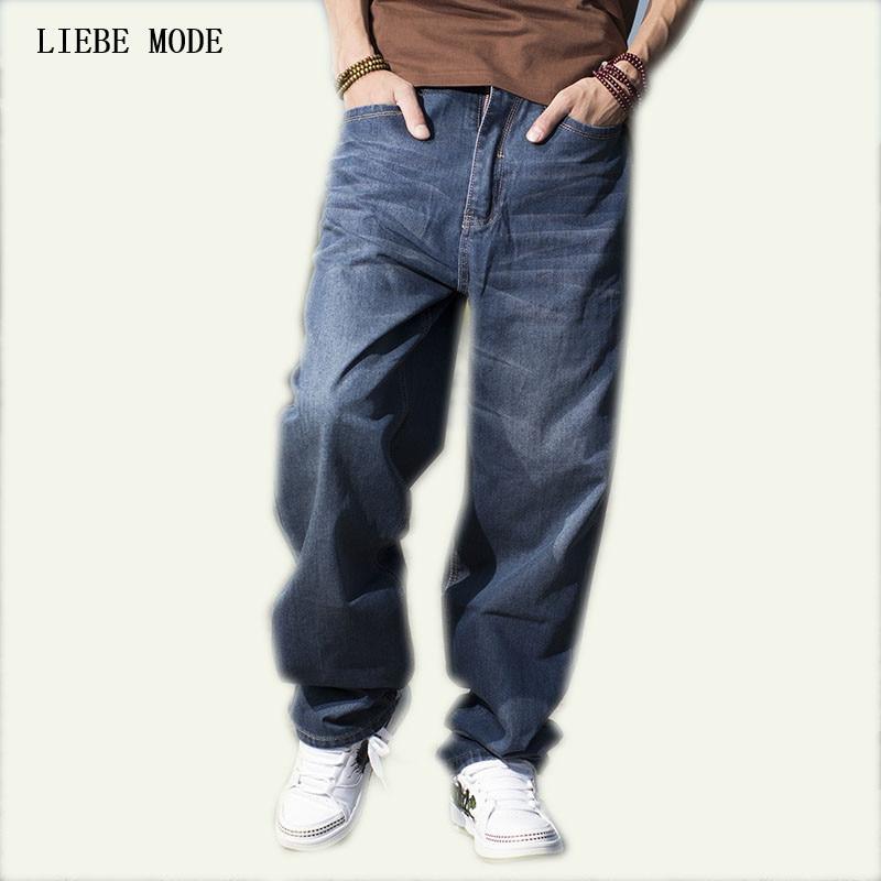 Plus tamaño 42 44 46 hombres sueltos pantalones Hip Hop pantalones vaqueros  de gran tamaño de d0a5ddcf875