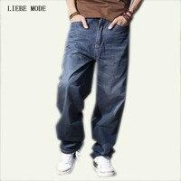 Плюс Размеры свободные Для мужчин s мешковатые хип хоп джинсы бренда большой Размеры Для мужчин джинсы для скейтборда брюки высокое качеств