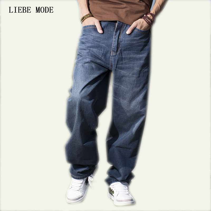 Plus Size Loose Mens Baggy Hip Hop Jeans Brand Big Size Men Skateboard Jeans Pants High Quality Size 42 44 46