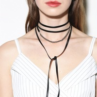 Statement Black Pu Leather Choker Necklace Women Bijoux Fashion Jewelry Multilayer Personality Necklace