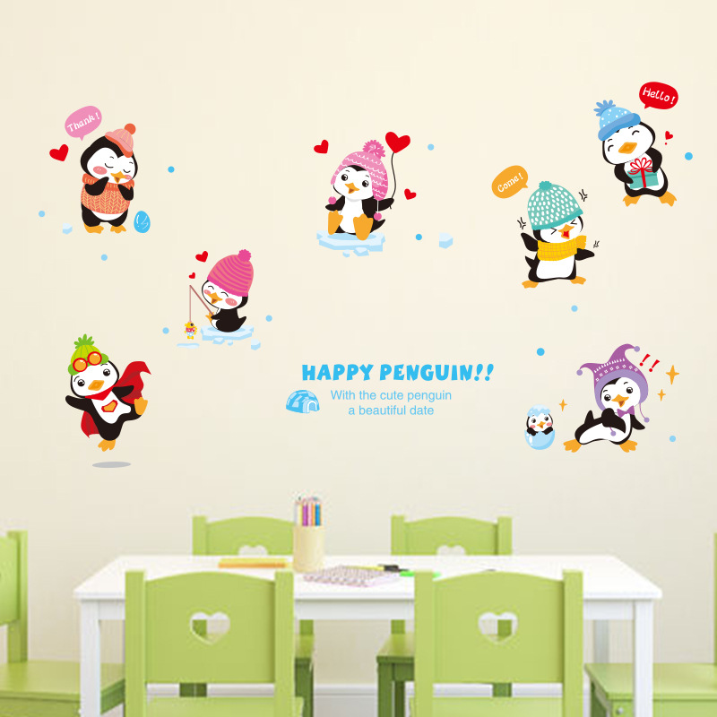 happy penguins removable wall stickers for kids room decorations muraux diy wallpaper home decor. Black Bedroom Furniture Sets. Home Design Ideas