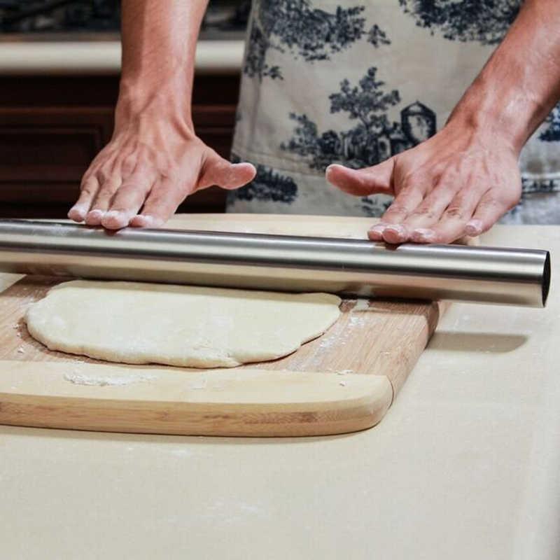 Nowa marka G.a HOMEFAVOR srebrny ze stali nierdzewnej wałek do ciasta ręcznie wałek do ciasta pieczenie ciasta Pizza akcesoria kuchenne non-stick 40cm
