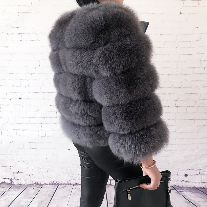 2019 new style real fur coat 100% natural fur jacket female winter warm leather fox fur coat high quality fur vest Free shipping 55