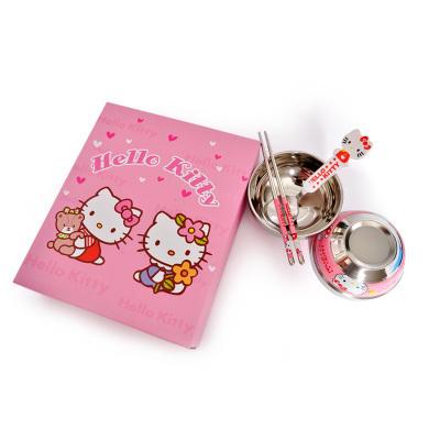 Bebê Com Caixa de Presente 4 Em 1 Bonito Olá Kitty Doraemon Rilakkuma Colher Pauzinhos Tigela Conjunto Talheres Louça