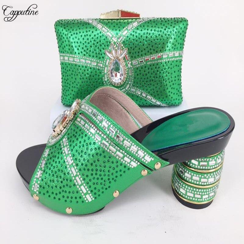 Изящные Свадебные/вечерние наборы соответствующие высокая обувь на каблуке и сумка наборы с сверкающих горный хрусталь 126-1 в зеленый