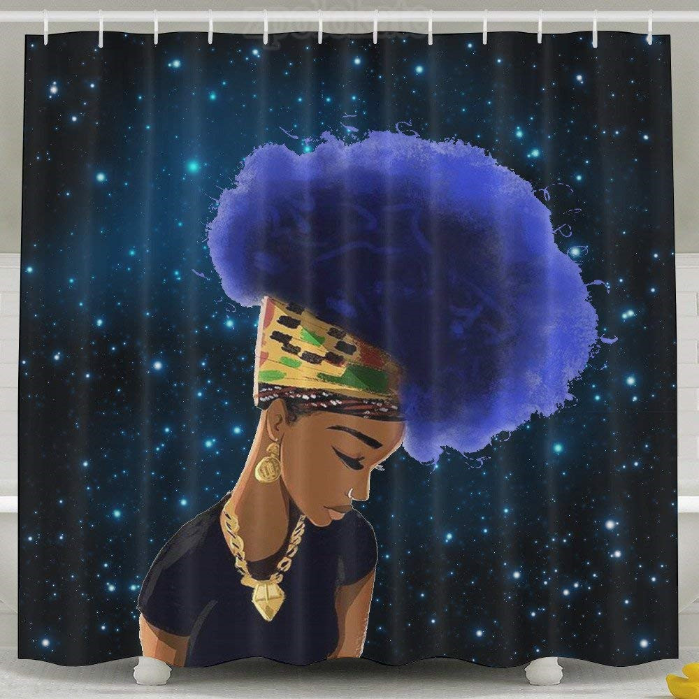 Cool Flower Hair Africa Women Shower Curtain Fabric Shower Curtain Set