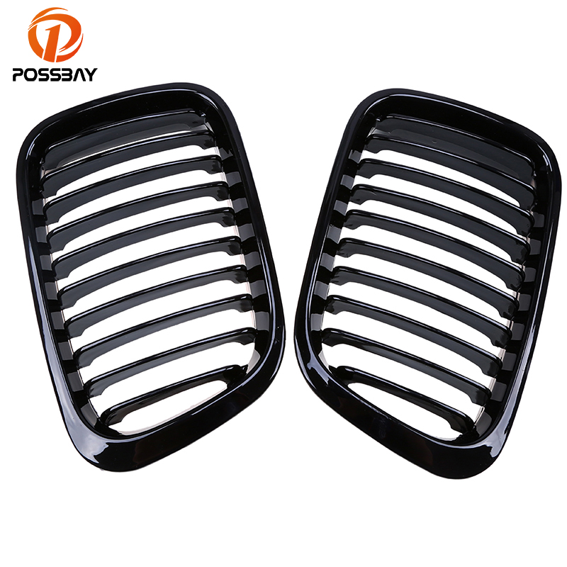 POSSBAY Car Front Center Wide Kidney Grilles Grill for BMW 3 Series E46 Compact 318i/318td/318ti 2001 2005 Gloss Black Grills