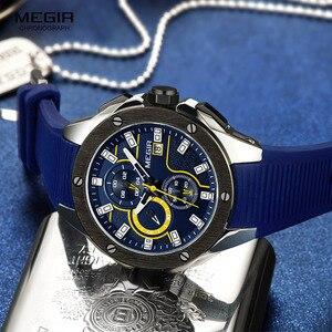 Image 3 - MEGIR erkek spor Chronograph kuvars saatler silikon kayış aydınlık su geçirmez ordu askeri kol saati adam Relogios 2053 mavi