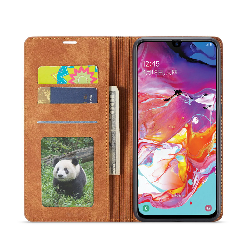 Luxury Leather A50 A51 A71 Case For Samsung Galaxy A70 A51 A40 A30 A20 A20E A10 M10 Strong Magnetic Wallet Flip Card Slots Cover