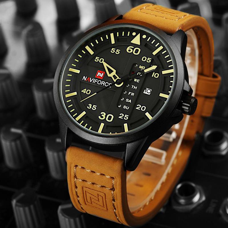 Prix pour NAVIFORCE Top Marque De Luxe Hommes de Sport Montres Hommes Étanche Quartz Montre Homme En Cuir Militaire montre-Bracelet Relogio Masculino
